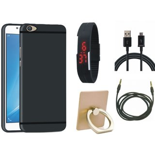 Redmi Note 4 Soft Silicon Slim Fit Back Cover with Ring Stand Holder, Digital Watch, USB Cable and AUX Cable