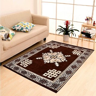 Home Best Velvet Abstract Chenille Carpet, Premium Living Room cotton touch Carpet / rug /durries -(7 X 5 , Multicolor)