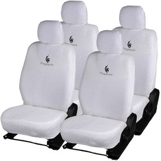 Pegasus Premium White Towel Car Seat Cover For Chevrolet Beat