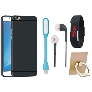 Redmi 4 Soft Silicon Slim Fit Back Cover with Ring Stand Holder, Digital Watch, Earphones and USB LED Light