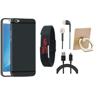Redmi 4 Soft Silicon Slim Fit Back Cover with Ring Stand Holder, Digital Watch, Earphones and USB Cable