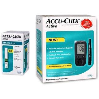 Accu-Chek Active Glucometer (Free 10 Test Strips)