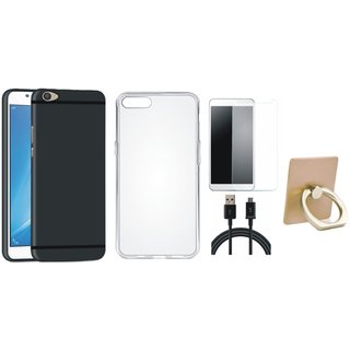 Vivo Y55 Soft Silicon Slim Fit Back Cover with Ring Stand Holder, Silicon Back Cover, Tempered Glass and USB Cable