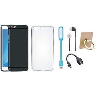 Vivo Y55 Soft Silicon Slim Fit Back Cover with Ring Stand Holder, Silicon Back Cover, Earphones, USB LED Light and OTG Cable