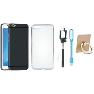Vivo Y55 Soft Silicon Slim Fit Back Cover with Ring Stand Holder, Silicon Back Cover, Selfie Stick and USB LED Light