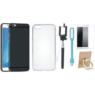 Vivo Y55 Soft Silicon Slim Fit Back Cover with Ring Stand Holder, Free Selfie Stick, Tempered Glass, and LED Light