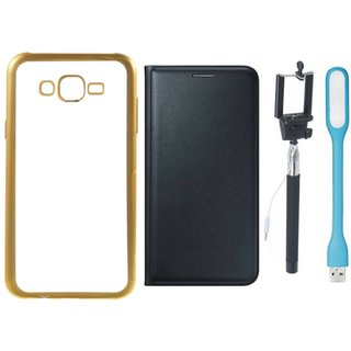 Coolpad Note 3 Silicon Back Cover with Golden Electroplated Edges with Free Leather Finish Flip Cover, Selfie Stick and USB LED Light
