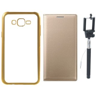 Coolpad Note 3 Silicon Back Cover with Golden Electroplated Edges with Free Leather Finish Flip Cover and Selfie Stick