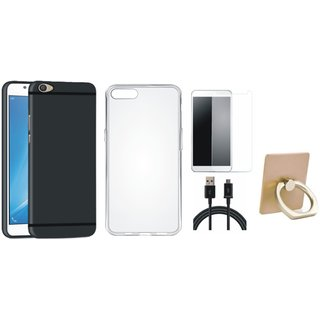 Vivo Y55 Silicon Anti Slip Back Cover with Ring Stand Holder, Silicon Back Cover, Tempered Glass and USB Cable