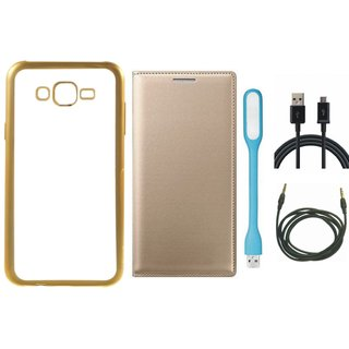 Chrome Tpu Back Cover with Golden Border for Coolpad Note 3 with Free Leather Finish Flip Cover, USB LED Light, USB Cable and AUX Cable