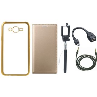 Coolpad Note 3 Lite Silicon Back Cover with Golden Electroplated Edges with Free Leather Finish Flip Cover, Selfie Stick, OTG Cable and AUX Cable