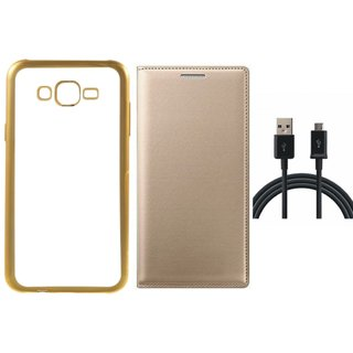 Coolpad Note 3 Lite Golden Edge Silicon Back Cover with Free Leather Finish Flip Cover, USB Cable