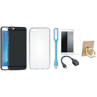Vivo Y55L Soft Silicon Slim Fit Back Cover with Ring Stand Holder, Silicon Back Cover, Tempered Glass, USB LED Light and OTG Cable