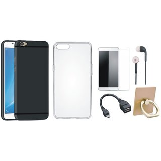 Vivo Y55L Soft Silicon Slim Fit Back Cover with Ring Stand Holder, Silicon Back Cover, Tempered Glass, Earphones and OTG Cable