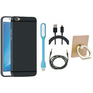 Lenovo K8 Note Silicon Anti Slip Back Cover with Ring Stand Holder, USB LED Light, USB Cable and AUX Cable
