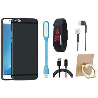 Redmi 4A Stylish Back Cover with Ring Stand Holder, Digital Watch, Earphones, USB LED Light and USB Cable