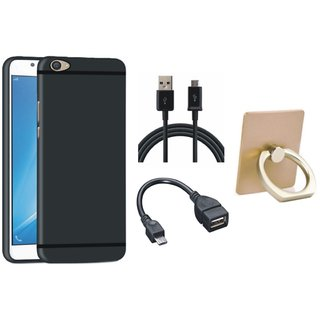 Redmi 4A Stylish Back Cover with Ring Stand Holder, OTG Cable and USB Cable
