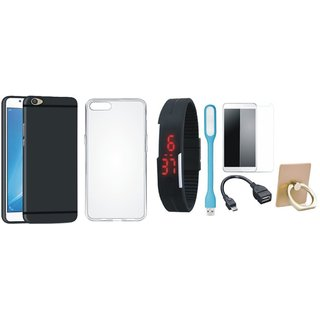 Lenovo K8 Note Stylish Back Cover with Ring Stand Holder, Free Digital LED Watch, Tempered Glass, LED Light and OTG Cable