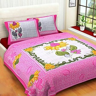 BhaiJis Elastic Fitted BedSheets 100 Pure Soft Cotton 220 TC