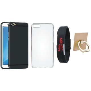 Redmi 4A Silicon Anti Slip Back Cover with Ring Stand Holder, Silicon Back Cover, Digital Watch