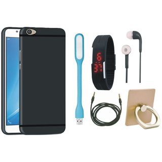 Lenovo K8 Note Back Cover with Ring Stand Holder, Digital Watch, Earphones, USB LED Light and AUX Cable