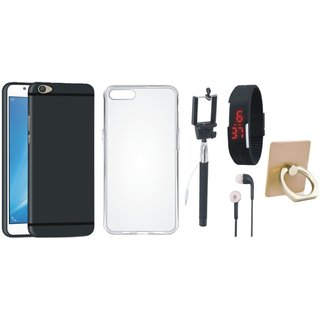 Vivo Y55L Soft Silicon Slim Fit Back Cover with Ring Stand Holder, Silicon Back Cover, Selfie Stick, Digtal Watch and Earphones