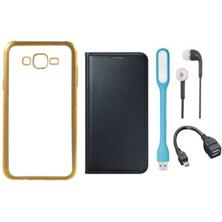 Samsung J7 Prime SM-G610F Back Cover with Free Leather Finish Flip Cover, Earphones, USB LED Light and OTG Cable
