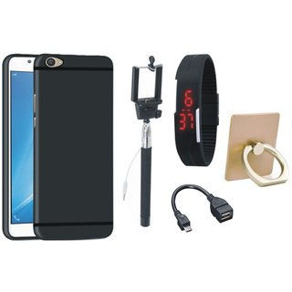 Moto E4 Soft Silicon Slim Fit Back Cover with Ring Stand Holder, Selfie Stick, Digtal Watch and OTG Cable