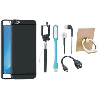 Moto E4 Silicon Slim Fit Back Cover with Ring Stand Holder, Selfie Stick, Earphones, OTG Cable and USB LED Light
