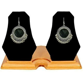 Minha Oxidized Afghani Earrings with Mirror for Wome
