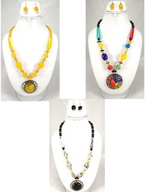 Minha Fashion Trendy Party wear Jewelry Necklace with Earrings Set Combo of 3