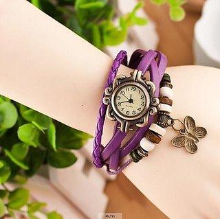 eglob Casual Leather Purpul  Quartz Peach Bracelet Analog Watch For Women &Girls