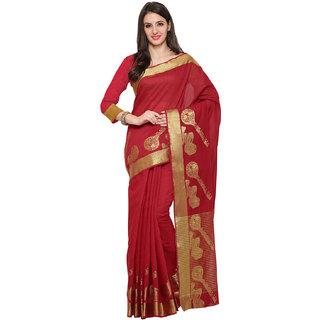 Ajira Red Colour Self Design Solid Silk Banarasi Saree  KANJIVARAM SITAR RED