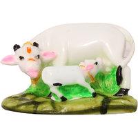 Art N Hub Marble Look Cow N Calf Idol Kamdhenu Cow And Calf Statue , Mahadev Mount / Nandi Spiritual Decorative Puja vastu Showpiece - Gift  Mandir / Home Temple Murti