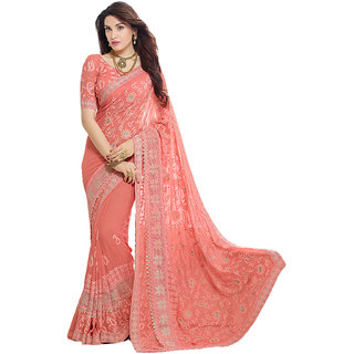 Meia Peach Chiffon Embroidered Saree With Blouse
