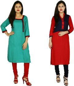 Ramesh Vastra Bhandar Green Kurti And Red,Blue Kurti With Red And Black Cotton Lycra Leggings(Tow Kurti And Leggings)