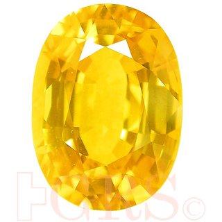 Yellow Sapphire Pukhraj Stone Natural Oval Shape 6.16 Ratti