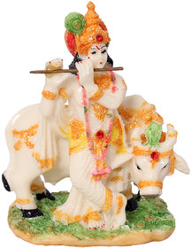 ART N HUB Multicolour God Shri Krishan with Kamdhenu Cow Statue lord Krishna Idol Makhan Chor / Bal Gopal Decorative Puja Showpiece -  Gift  Mandir / Home Temple Murti