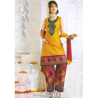JS's Yellow Cotton Embroidered  Dress Material (Unstitched)