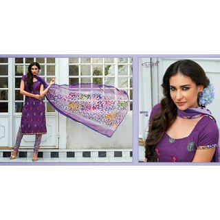 JS's Violet Cotton Embroidered  Dress Material (Unstitched)