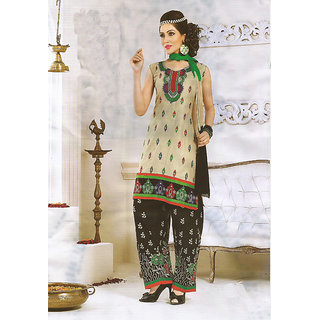 JS's Cream Cotton Embroidered  Dress Material (Unstitched)