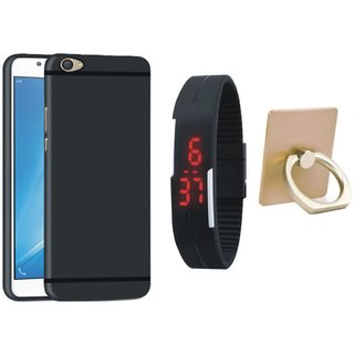 Vivo Y55L Silicon Slim Fit Back Cover with Ring Stand Holder, Digital Watch