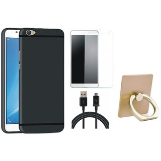 Vivo Y55L Silicon Slim Fit Back Cover with Ring Stand Holder, Tempered Glass and USB Cable