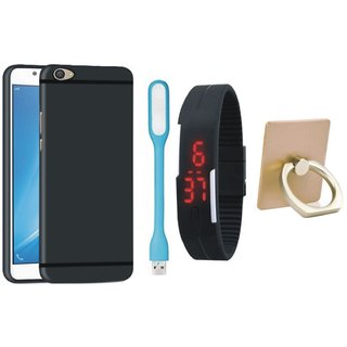 Vivo Y55L Silicon Slim Fit Back Cover with Ring Stand Holder, Digital Watch and USB LED Light