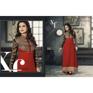 JS's Red Georgette Embroidered  Dress Material