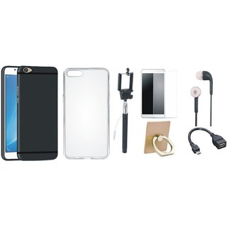Vivo Y55L Silicon Slim Fit Back Cover with Ring Stand Holder, Free Selfie Stick, Tempered Glass, Earphones and OTG Cable