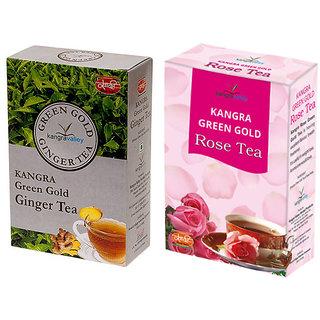 Khadi Ginger Tea - Rose Green Gold Tea (Pack of 2)
