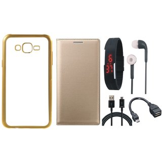 Chrome Tpu Back Cover with Golden Border for Lenovo Vibe K5 with Free Leather Finish Flip Cover, Digital Watch, Earphones, OTG Cable and USB Cable
