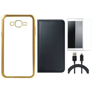 Chrome Tpu Back Cover with Golden Border for Lenovo Vibe K5 with Free Leather Finish Flip Cover, Tempered Glass and USB Cable