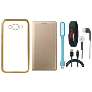 Chrome Tpu Back Cover with Golden Border for Lenovo Vibe K5 with Free Leather Finish Flip Cover, Digital Watch, Earphones, USB LED Light and USB Cable